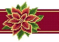 Poinsettia Red Ribbon christmas holiday cross stitch chart Solaria Designs - €3,98 EUR
