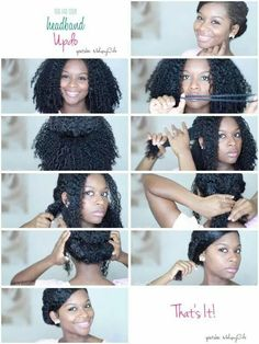 // headband updo for natural hair //