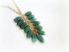 Green aventurine lariat necklace aventurine by MalinaCapricciosa, $22.00