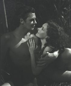 Tarzan And Jane as photofraphed by George Hurrell: Johnny Weismuller and Maureen O'Sullivan, 1936