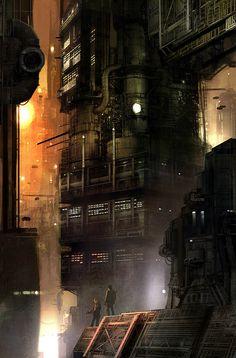 Blade Runner by Benjamin Carré. futurism, futuristic architecture, futuristic building, futuristic city, futuristic art, future, structure, construction, fantastic, sci-fi, sci-fi art, dark art, dark city, cyber punk, cyberpunk, cyber city, cyberpunk architecture