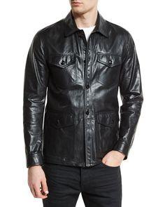 Lightweight Leather Racer Jacket, Black