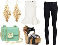 white peplum top with black skinny jeans and mint cross body bag