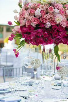 Pink ombre wedding flowers | Design: 2Create Designs | Photography: Lin & Jirsa | Venue: Santiago Canyon Mansion |  See the full wedding: http://www.xaazablog.com/romantic-pink-ombre-wedding/ #pinkwedding #pinkombre #weddingflowers