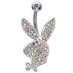 AB Crystal Licensed Playboy Bunny Belly Button Ring Playboy.  14.99. 316L  Surgical Steel. 14G 627484aee