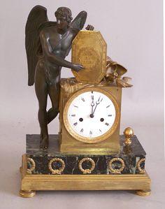 Antique bronze and marble shelf clock c 1820