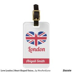 Love London | Heart Shaped Union Jack Personalised Luggage Tag  #unionjack #flag #uk #unitedkingdom #London #tourism #merchandise #travel #heart #LoveLondon #newparklane #gifts #personalisedgift #travelinstyle #luggagetag