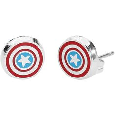 Captain America Earring Set ($17) ❤ liked on Polyvore featuring jewelry, earrings, studded jewelry and stud earrings