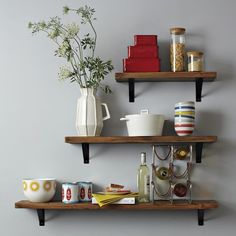 functional kitchen accessories as a decoration wooden shelves modular - Home Decoration Reclaimed Wood Shelves, Salvaged Wood, Wooden Shelves, Wood Shelf, Pine Shelves, Hanging Shelves, Display Shelves, Kitchen Furniture, Modern Furniture