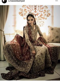 Pakistani wedding dresses and bridal Lehenga are so loved by everyone for their intricate designs and heavy embroidery. Asian Wedding Dress, Pakistani Wedding Outfits, Wedding Dresses For Girls, Pakistani Wedding Dresses, Bridal Outfits, Indian Dresses, Bridal Gowns, Indian Clothes, Indian Outfits