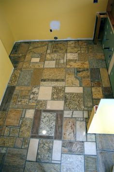 Granite counter top recycled tile floor  This would be SO cool!!!
