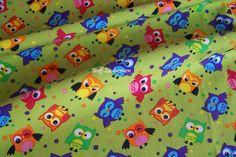 Baumwollstoff  Eulchen Eulen Uhu Owls Punkte Polka Dots grün bunt Meterware