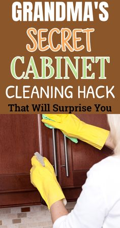 The secret to keeping your cabinets glowing is pretty simple. No mixture, just a simple wipe using grandma's secret cleaner will do the trick.#cleaninghacks#cleaningtips#householdtips Diy Home Cleaning, Homemade Cleaning Products, Household Cleaning Tips, Cleaning Recipes, House Cleaning Tips, Natural Cleaning Products, Cleaning Hacks, Kitchen Cleaning, Cabinet Cleaner