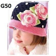 Articulos Para Bebe Y Niñas Gorros Tejidos A Crochet. Bordado 67ce146219c