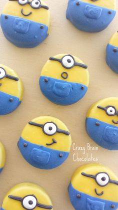 Chocolate Dipped Minion Oreos (12) by CrazyBrainChocolate on Etsy