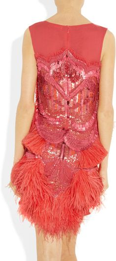 MATTHEW WILLIAMSON ENGLAND Feather and Beadembellished Silkchiffon Dress