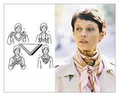 "The Hermes scarf belongs to the wish list of almost every woman. A lot of people misjudge the Hermès scarf as an accessory for the ""over Ways To Wear A Scarf, How To Wear Scarves, Square Scarf How To Wear A, Square Scarf Tying, Tying A Scarf, Scarf Tieing, Scarf Knots, Scarf Tutorial, Pashmina Scarf"