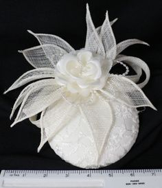 Ivory Fascinator Ivory Lace and Pearls Chapeau by dolldressedup