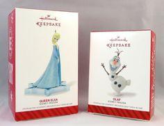 f2a81b9f015 2014 QUEEN ELSA  amp  OLAF DISNEY FROZEN HALLMARK KEEPSAKE ORNAMENT SET  Hallmark  Frozen Queen