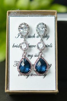 Bridesmaid jewelry sapphire blue Gold Drop Earrings Wedding Bridal Wedding Dangle Earrings Bridal Jewelry  Bridesmaid Gift on Etsy, $39.99