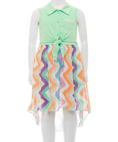 Look at this Mint Collar Chevron Chiffon Hi-Low Dress on #zulily today!