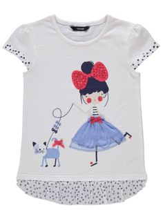 Cat T-shirt With Drop Frill Hem