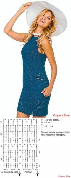 . Clássico elegante. Vestido azul com bolsos. - Tudo em azul ... (crochê) - Country Mom