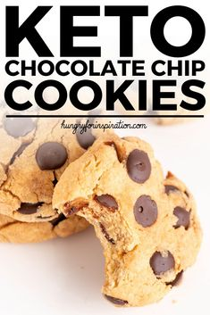 Soft Keto Chocolate Chip Cookies With Only Net Carbs Per Cookie Gluten-Free, Sugar-Free And 100 Suitable For The Ketogenic Diet. Gluten Free Recipes For Kids, Best Low Carb Recipes, Free Keto Recipes, Gluten Free Treats, Lunch Recipes, Sweet Recipes, Keto Chocolate Chip Cookies, Keto Cookies, Low Card Desserts