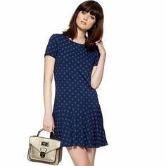 by Henry Holland Designer blue spotted drop waist dress Henry Holland, Purple Pattern, Spring Summer, Summer 2014, Debenhams, Drop Waist, Smocking, Short Sleeve Dresses, Dresses For Work