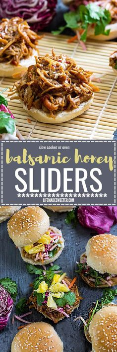 Balsamic Honey Pulled Pork Sliders make the perfect easy dinner or game day party appetizers! Best of all, the soft and tender pork comes together easily in the slow cooker so you can still watch the football game while these cook up!