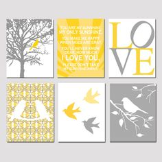 Set of Six 11x14 Nursery Prints - You Are My Sunshine, Bird in a Tree, Baby Birds, LOVE, Bird On A Branch - Choose Your Colors. $145.00, via Etsy.