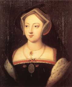 Mary Boleyn wearing gable hood and ermine-trimmed sleeves.