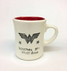 Wonder Woman, meet Liz Lemon. Who famously and correctly said: bitches get stuff done. You want something done right, you cant be polite about it. Push those boys aside and go for it, girl! 4 1/2 high and 5 wide at the handle. Holds 16oz of your favorite beverage. Great gifting! Id be