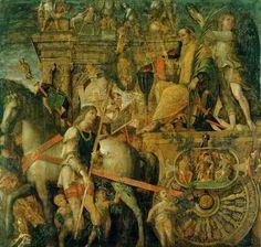 Los triunfos del César IX - Julio César en su carruaje (1485 - 1505), Andrea Mantegna, Hampton Court (Reino Unido).