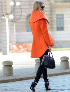 Orange coat, love the cut!