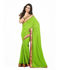 Designer Beautiful Lace Work Saree Color: Green Fabric: Georgette Blouse: Georgette  Price : Rs.1080  Contact Us : E-Mail : customercare@nairitifashions.com Whatsapp : +91 8690532555