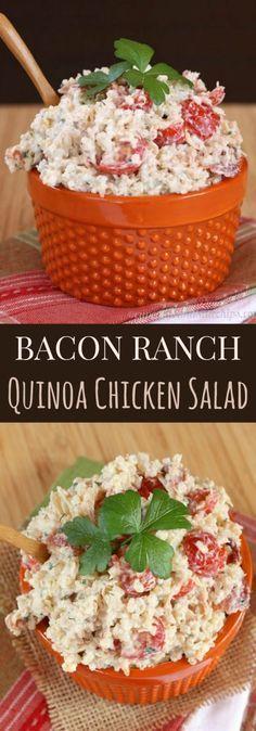 Bacon Ranch Quinoa Chicken Salad - comfort food flavors in an easy, make-ahead recipe made healthier with Greek yogurt | cupcakesandkalechips.com | gluten free