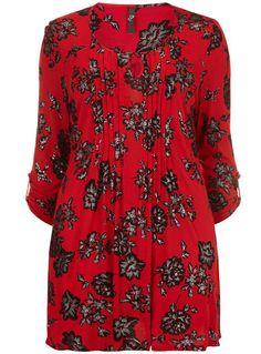 Evans Red Bird Print Shirt - Printed Tops  - Clothing