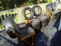 Recycled tires turned into chairs. I would definitely paint them some bright colors.