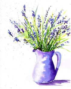 Lavender inspires me to paint in so many different ways. Lavender in a field is delightful, but how about lavender in a vase? Come and see what other paintings lavender has inspired. Watercolor Sketchbook, Watercolor Cards, Watercolor Illustration, Watercolor Trees, Tattoo Watercolor, Watercolor Animals, Watercolor Background, Watercolor Artists, Watercolor Art Paintings