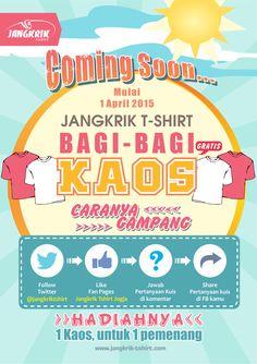 Jangkrik T-shirt bagi-bagi kaos gratis nih!! Yuk buruan ikuti infonya di  FB : https://www.facebook.com/jangkrik.tshirt Twitter : https://twitter.com/jangkriktshirt