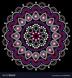 Mandala dot painting vector design, aboriginal style, australian folk art boho ornament in pink and purple. mandalas dot pattern nspired by traditional art Mandala Artwork, Mandala Canvas, Mandalas Painting, Mandalas Drawing, Aboriginal Dot Painting, Dot Art Painting, Painting Patterns, Stone Painting, Painting With Dots