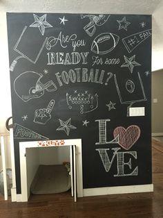 Super Bowl/football chalk board wall