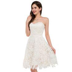 Ivory Vintage Lace Short Wedding Dresses Beach Style Bridal Gowns Bride Wedding Dress Robe de Mariee 0118