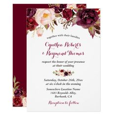 Burgundy Red Marsala Floral Chic Fall Wedding Invitation Customizable winter wedding and bridal shower invitations Fall Wedding Invitations, Wedding Invitation Cards, Bridal Shower Invitations, Custom Invitations, Wedding Cards, Party Invitations, Wedding Gifts, Wedding Stationery, Marsala