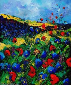 Artwork >> Pol Ledent >> red and blue poppies #artwork, #masterpiece, #painting, #contemporary, #art, #nature, #flowers, #poppies