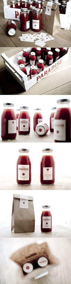 #Packaging / Paradise / minimal zumo de tomate, espectacular la sencillez, el resultado y el color ;-)