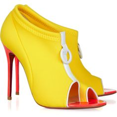 Christian Louboutin Snorkeling 100 neoprene and leather ankle boots ($835) ❤ liked on Polyvore