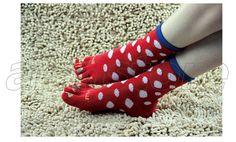 Big Spot Printing Five-Toe Socks for Women, Warmth-Keeping Cotton Socks Toe