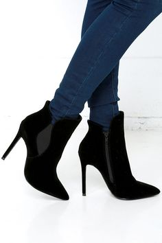 Very Superstitious Black Velvet Pointed Toe Booties at Lulus.com!